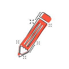 Vector cartoon pencil icon in comic style. Pen sign illustration pictogram. Pencil business splash effect concept.