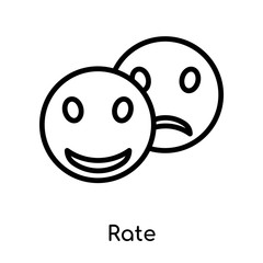 Rate icon vector sign and symbol isolated on white background, Rate logo concept