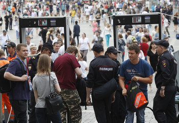 People pass through a security checkpoint in Moscow