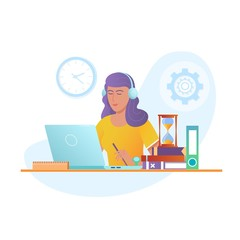 Education Online vector design concept. Young woman working with laptop at work desk