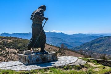 Pilgrim statue in Saint James's Way, Spain