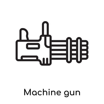 Machine gun icon vector sign and symbol isolated on white background, Machine gun logo concept, outline symbol, linear sign
