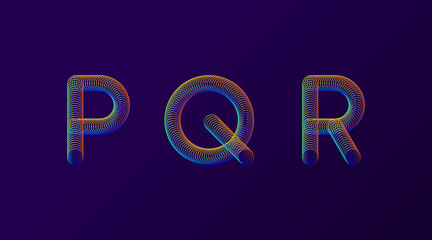 Set of colorful modern abstract letters creative design vector illustration. Rainbow Neon spring alphabet isolated on dark purple background.