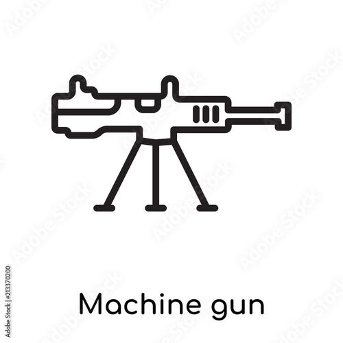 Machine gun icon vector sign and symbol isolated on white