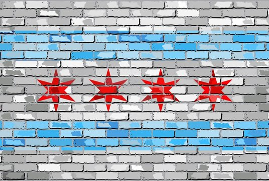 Flag of Chicago on a brick wall - Illustration,  The flag of the state of Chicago on brick background,  Chicago flag in brick style