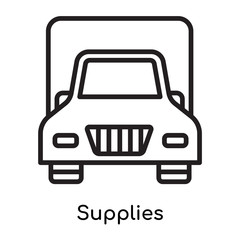 Supplies icon vector sign and symbol isolated on white background, Supplies logo concept, outline symbol, linear sign
