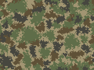 Camouflage seamless pattern. Trendy style pixel camo. Great for print on fabric. Vector illustration.
