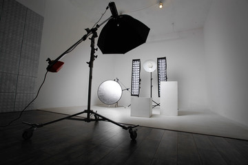 Outbreaks on white background of cyclorama. Professional Lighting Fixtures