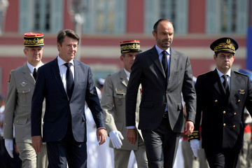 French Prime Minister Edouard Philippe and Chrisitian Estrosi, Mayor of Nice, arrive to pay tribute to the victims of the truck attack along the Promenade des Anglais that killed 86 two years ago on Bastille Day in Nice