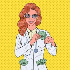 Pop Art Female Corrupt Doctor Put Money into Pocket. Corruption Concept. Vector illustration