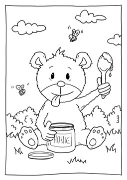 Ausmalbild Bär mit Honig