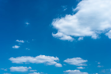 Beautiful blue sky with clouds on a hot summer day.