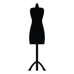 A black and white silhouette of dress dummy/mannequin