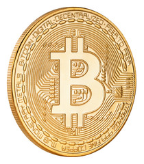 Golden bitcoin cryptocurrency coin isolated on white background