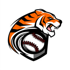 Tiger Baseball Team Logo