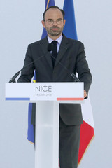 French Prime minister Edouard Philippe speaks during a ceremony for the second anniversary of attacks on Nice in which 86 people died when a truck was driven into a crowd celebrating Bastille Day on the Promenade des Anglais, in Nice