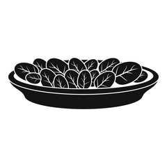 Spinach on plate icon. Simple illustration of spinach on plate vector icon for web design isolated on white background