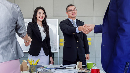 success business ideas concept business officer meeting with boss in meeting room modern office background