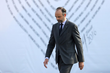 French Prime minister Edouard Philippe leaves after his speech during a ceremony for the second anniversary of attacks on Nice in which 86 people died when a truck was driven into a crowd celebrating Bastille Day on the Promenade des Anglais, in Nice