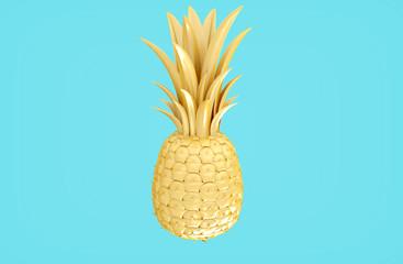 Yellow gold pineapple on bright blue BG