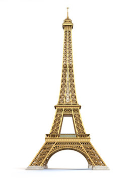Eiffel Tower golden isolated on a white background