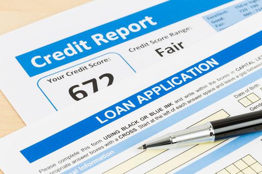Loan application form fair credit score with pen