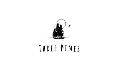 Three pines vector image