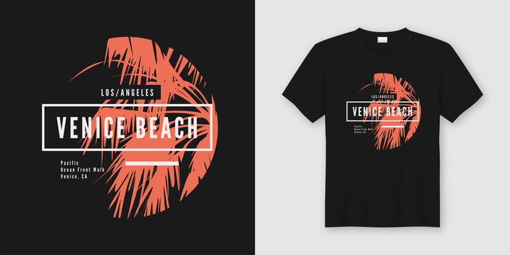 Venice beach t-shirt and apparel trendy design with palm tree si