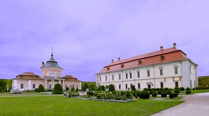 Panoramic view of the garden of castle in Zolochiv, Ukraine JUNE 02 2018