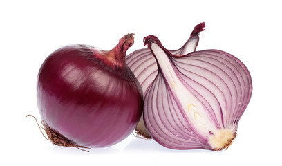 half of purple onion isolated on white background