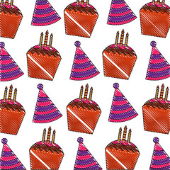 birthday cupcakes and party hat decoration pattern