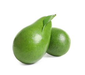 Ripe fresh avocados on white background