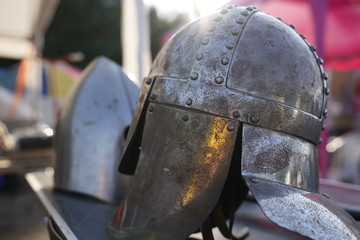 Old medieval steel helmet