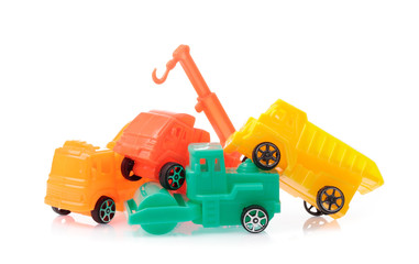 set of toy tractor isolated on a white background.