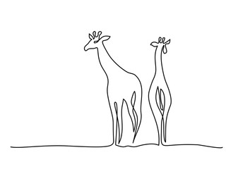 Continuous one line drawing. Giraffe walking symbol. Logo of the giraffe. Vector illustration