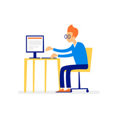 Man working at a computer, character, office, business, programmer. Flat illustration isolated on white background.