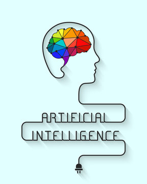 Artificial intelligence concept with colorful low poly brain and wire forming the head and words