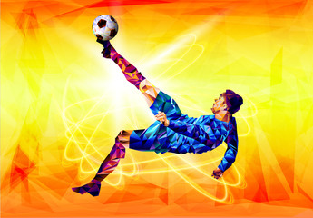 Soccer player the background of the stadium FIFA world cup. Welcome to Russia. Football player in Russia 2018. Fool colour vector illustration in flat style isolated on white background