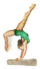 Foto auf Acrylglas Gymnastik watercolor sketch of young woman training gymnastics isolated on white background
