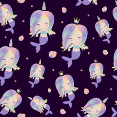 Cute rainbow mermaids. Seamless pattern for print on clothes,cases.