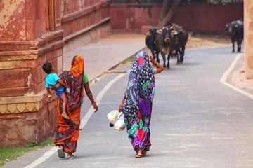 Local women walking along the wall of Taj Mahal complex in Agra, Uttar Pradesh, India
