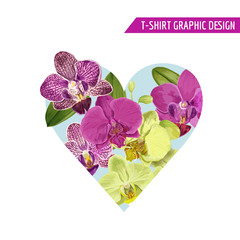 Love Romantic Floral Heart Spring Summer Design with Purple Orchid Flowers for Prints, Fabric, T-shirt, Posters. Tropical Botanical Background for Valentines Day. Vector illustration
