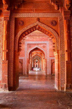 Interior of Jama Masjid in Fatehpur Sikri, Uttar Pradesh, India
