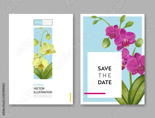 wedding invitation layout template with orchid flowers save the