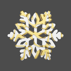 Festive snowflake in gold and white style isolated on gray background. Christmas element in golden abstract soft lines. 3d render.