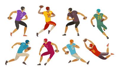 American football players. Sport concept. Cartoon vector illustration
