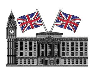 buckingham palace crossed flags england
