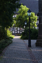 Way with trees and street lamp and a historic house in germany
