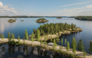 Wonderful landscape of Finland. Lake Lietvesi. Aerial view