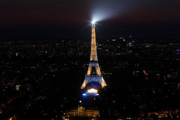 Lights sparkle on the Eiffel Tower during an open air concert, in a picture taken from the Montparnasse Tower Observation Deck, at the end of Bastille Day events in Paris